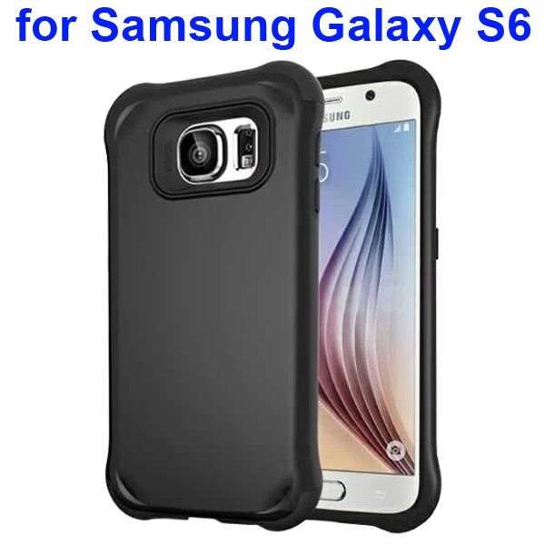2 in 1 Soft TPU and Hard Shockproof Hybrid Case Cover for Samsung Galaxy S6 (Black)