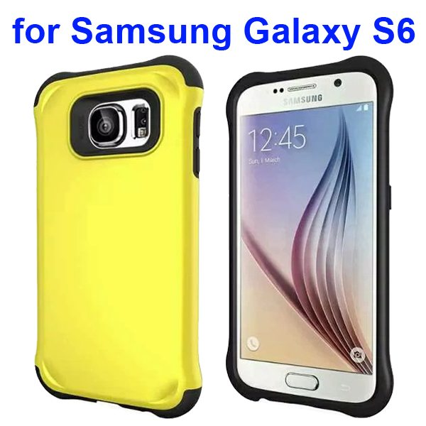 2 in 1 Soft TPU and Hard Shockproof Hybrid Case Cover for Samsung Galaxy S6 (Yellow)