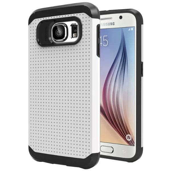 Soft TPU and Hard Protective Hybrid Cover for Samsung Galaxy S6 (White)