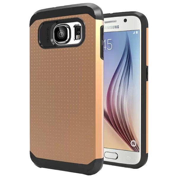 Soft TPU and Hard Protective Hybrid Cover for Samsung Galaxy S6 (Gold)