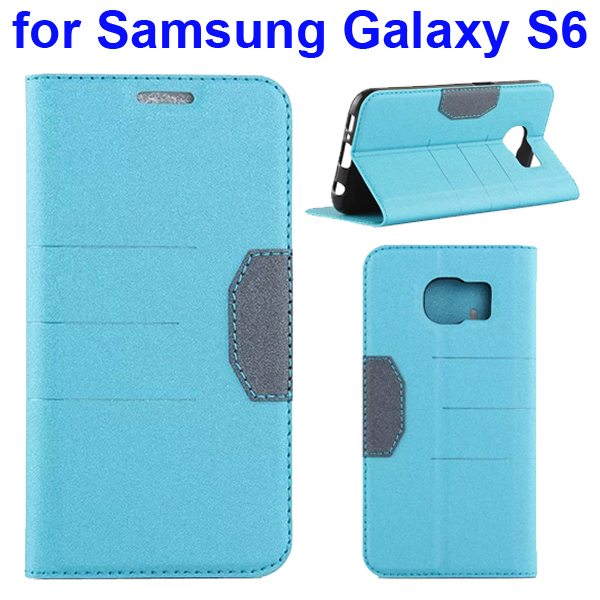 Mix Color Frosted Flip Leather Case for Samsung GALAXY S6 with Holder and Card Slot (Light Blue)