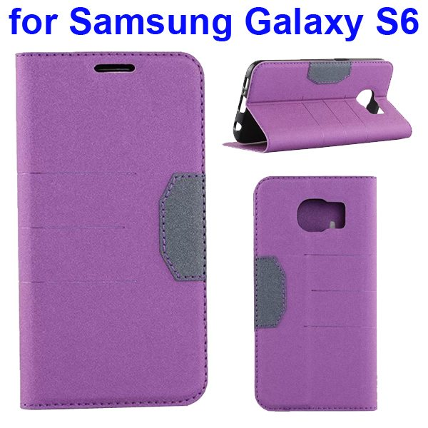 Mix Color Frosted Flip Leather Case for Samsung GALAXY S6 with Holder and Card Slot (Purple)