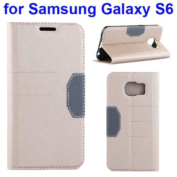 Mix Color Frosted Flip Leather Case for Samsung GALAXY S6 with Holder and Card Slot (Light Gold)