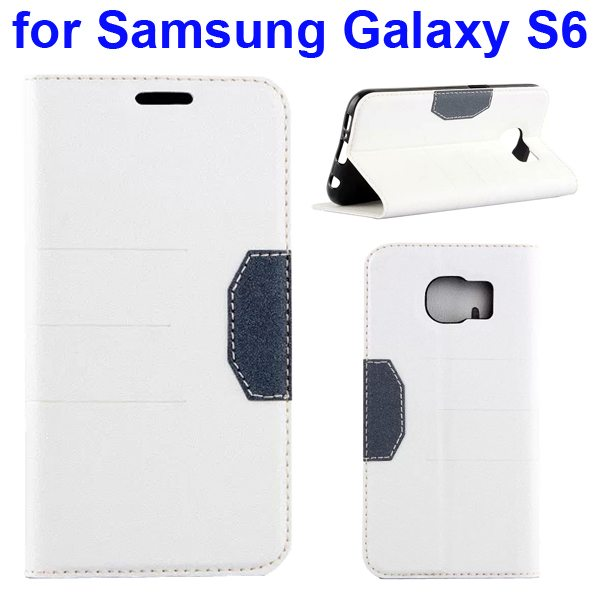 Mix Color Frosted Flip Leather Case for Samsung GALAXY S6 with Holder and Card Slot (White)