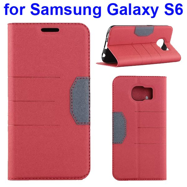 Mix Color Frosted Flip Leather Case for Samsung GALAXY S6 with Holder and Card Slot (Red)