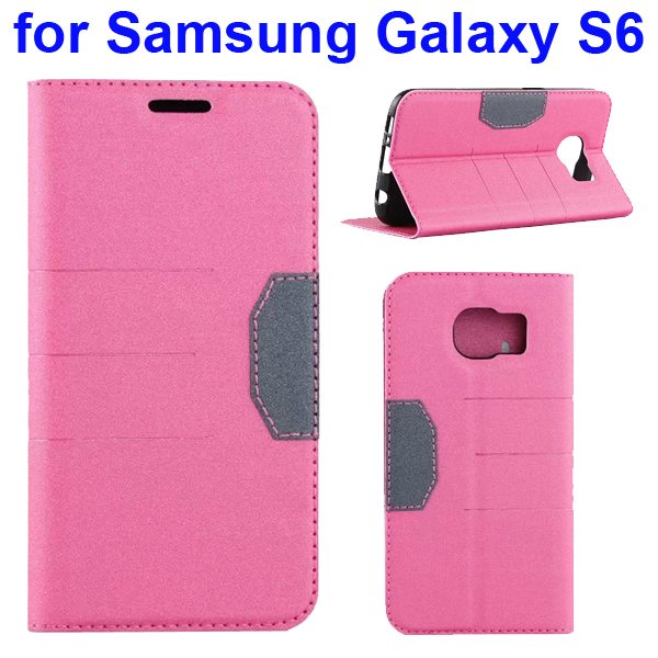 Mix Color Frosted Flip Leather Case for Samsung GALAXY S6 with Holder and Card Slot (Pink)