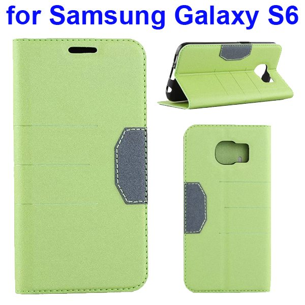 Mix Color Frosted Flip Leather Case for Samsung GALAXY S6 with Holder and Card Slot (Green)
