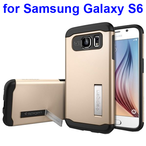 2 in 1 TPU and Hard PC Shockproof Hybrid Slim Armor Cover for Samsung Galaxy S6 (Gold)