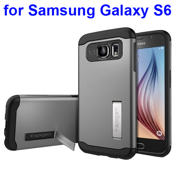 2 in 1 TPU and Hard PC Shockproof Hybrid Slim Armor Cover for Samsung Galaxy S6 (Black)