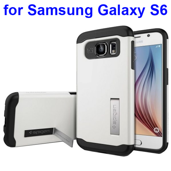 2 in 1 TPU and Hard PC Shockproof Hybrid Slim Armor Cover for Samsung Galaxy S6 (White)