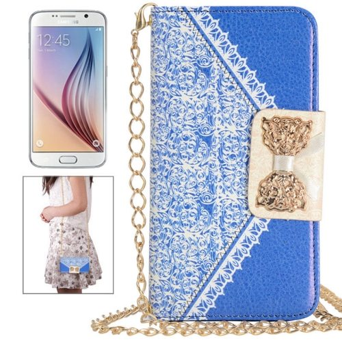 Bowknot Wallet Style Leather Case for Samsung Galaxy S6 with Chain & Card Slots(Blue)