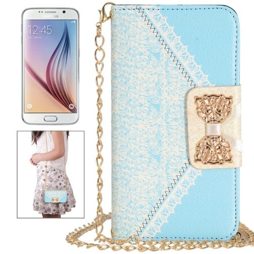 Bowknot Wallet Style Leather Case for Samsung Galaxy S6 with Chain & Card Slots(Baby Blue)