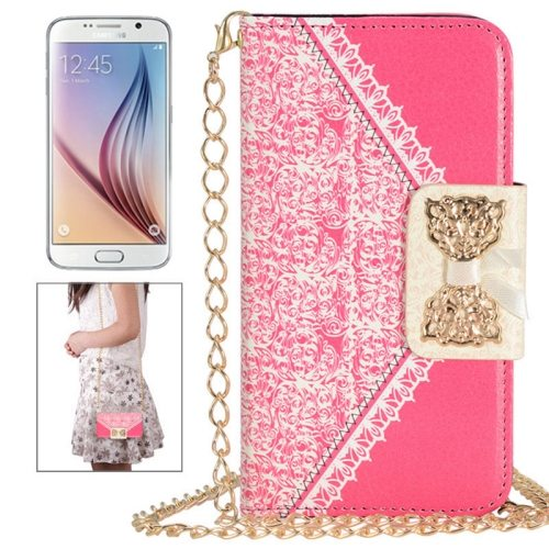 Bowknot Wallet Style Leather Case for Samsung Galaxy S6 with Chain & Card Slots(Red)
