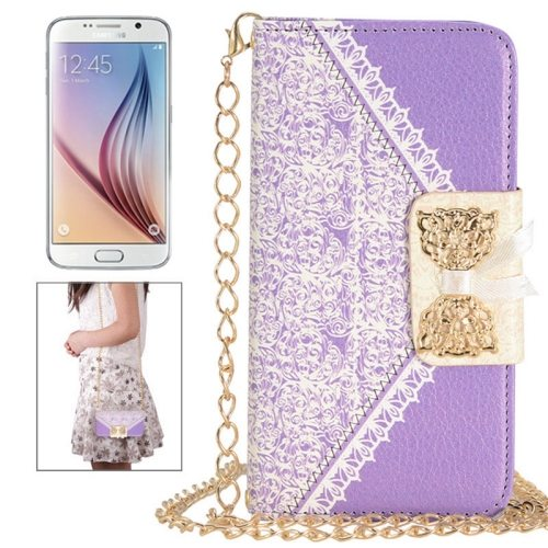 Bowknot Wallet Style Leather Case for Samsung Galaxy S6 with Chain & Card Slots(Purple)