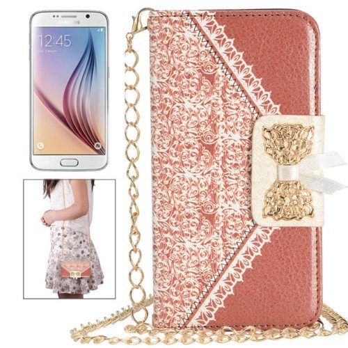 Bowknot Wallet Style Leather Case for Samsung Galaxy S6 with Chain & Card Slots(Brown)