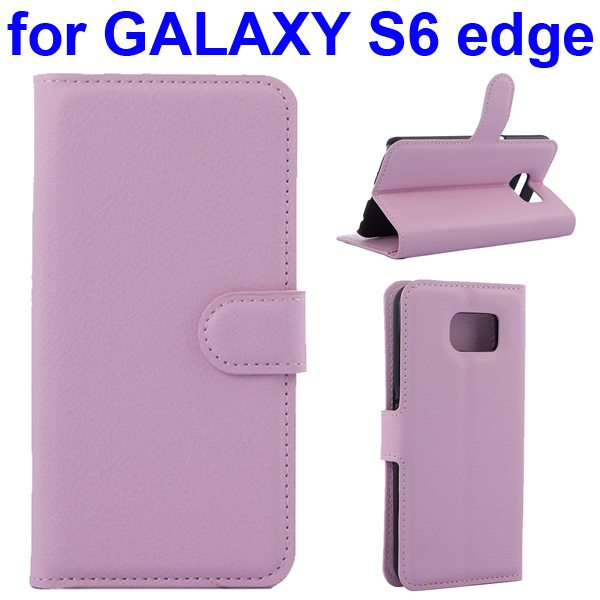 Litchi Texture Flip Wallet Leather Case for Samsung GALAXY S6 edge with Card Slots (Pink)