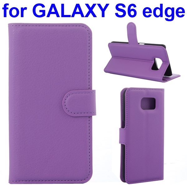 Litchi Texture Flip Wallet Leather Case for Samsung GALAXY S6 edge with Card Slots (Purple)