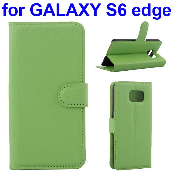 Litchi Texture Flip Wallet Leather Case for Samsung GALAXY S6 edge with Card Slots (Green)