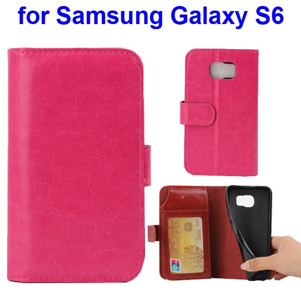 Crazy Horse Texture Magnetic Buckle Flip wallet  Case for Samsung Galaxy S6 with Card Slots (Rose)