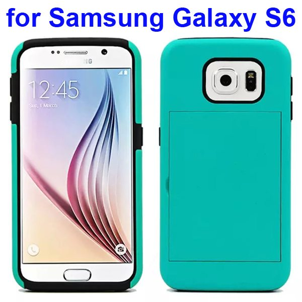 2 in 1 Soft TPU and Hard Shockproof Card Slot Hybrid Case for Samsung Galaxy S6 (Green+Black)