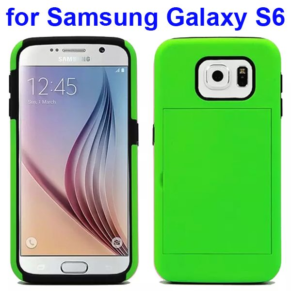 2 in 1 Soft TPU and Hard Shockproof Card Slot Hybrid Case for Samsung Galaxy S6 (Light Green+Black)