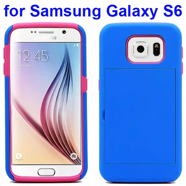2 in 1 Soft TPU and Hard Shockproof Card Slot Hybrid Case for Samsung Galaxy S6 (Dark Blue+Pink)