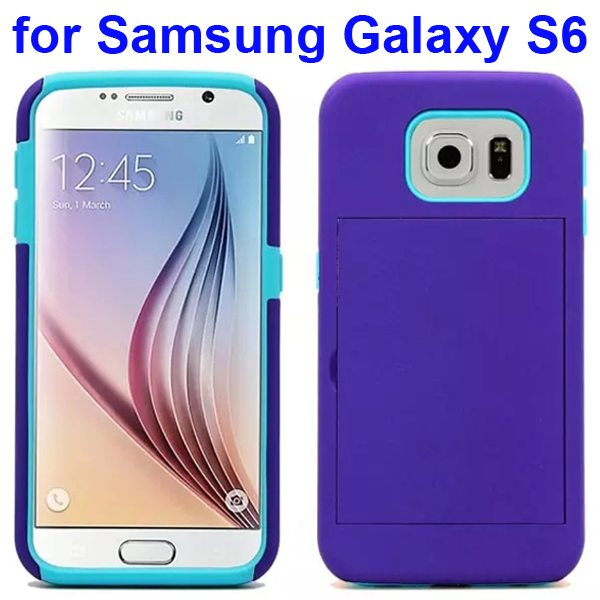 2 in 1 Soft TPU and Hard Shockproof Card Slot Hybrid Case for Samsung Galaxy S6 (Purple+Blue)