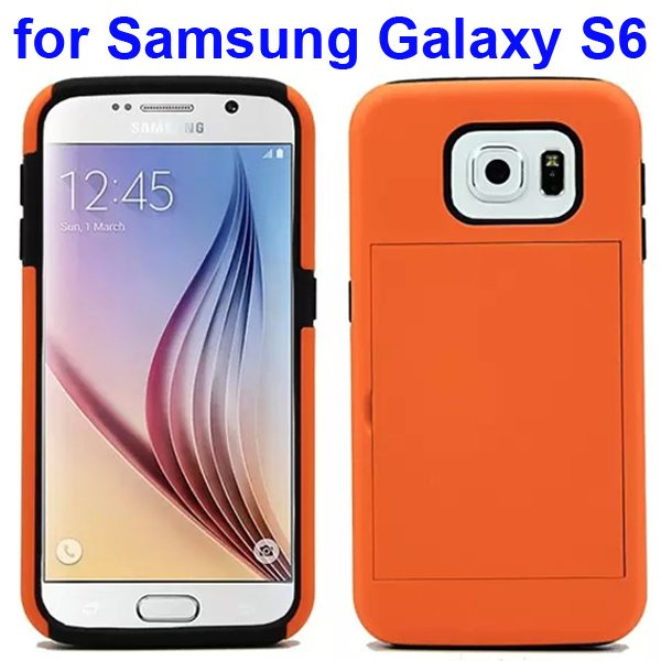 2 in 1 Soft TPU and Hard Shockproof Card Slot Hybrid Case for Samsung Galaxy S6 (Orange+Black)