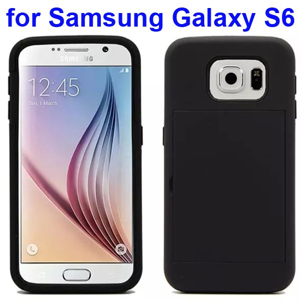 2 in 1 Soft TPU and Hard Shockproof Card Slot Hybrid Case for Samsung Galaxy S6 (Black)
