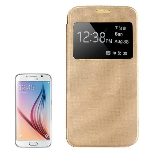 Elegant Style Leather Flip Cover for Samsung Galaxy S6 with Caller ID Display Window (Gold)