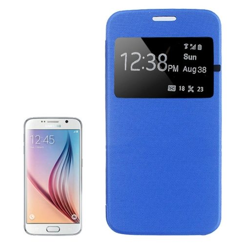 Elegant Style Leather Flip Cover for Samsung Galaxy S6 with Caller ID Display Window (Blue)