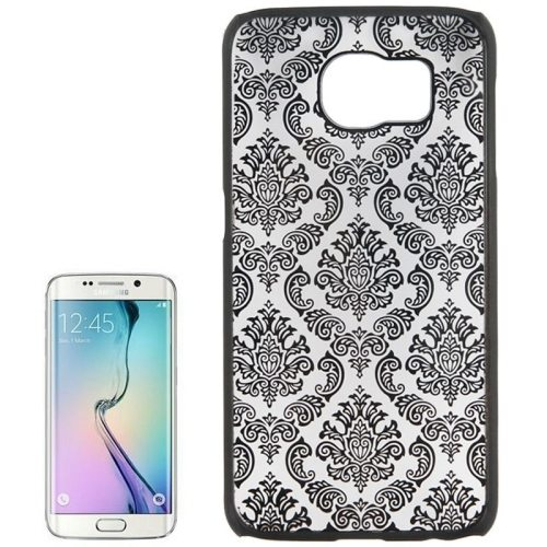 Embossed Flowers Pattern Protective Hard Plastic Case for Samsung Galaxy S6 (Black)