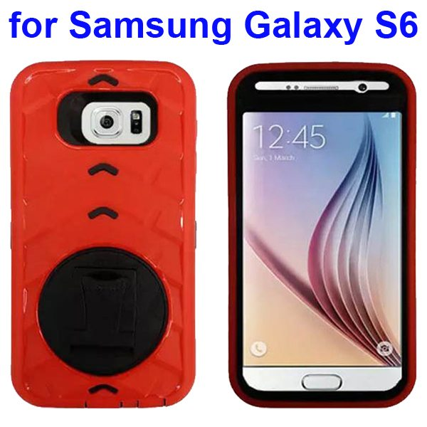 3 In 1 Pattern Silicone and PC Hybrid Shockproof Case for Samsung Galaxy S6 with Stand (Red)