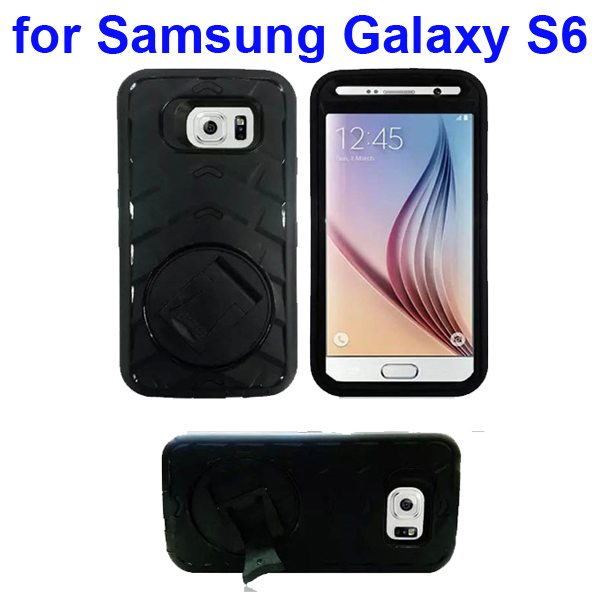 3 In 1 Pattern Silicone and PC Hybrid Shockproof Case for Samsung Galaxy S6 with Stand (Black)