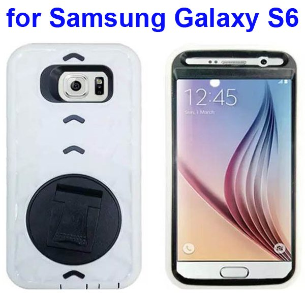 3 In 1 Pattern Silicone and PC Hybrid Shockproof Case for Samsung Galaxy S6 with Stand (White)