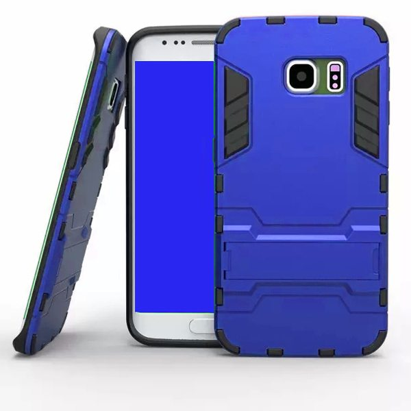 2 in 1 Soft TPU and Hard Shockproof Hybrid Case for Samsung Galaxy S6 with Holder(Dark Blue)