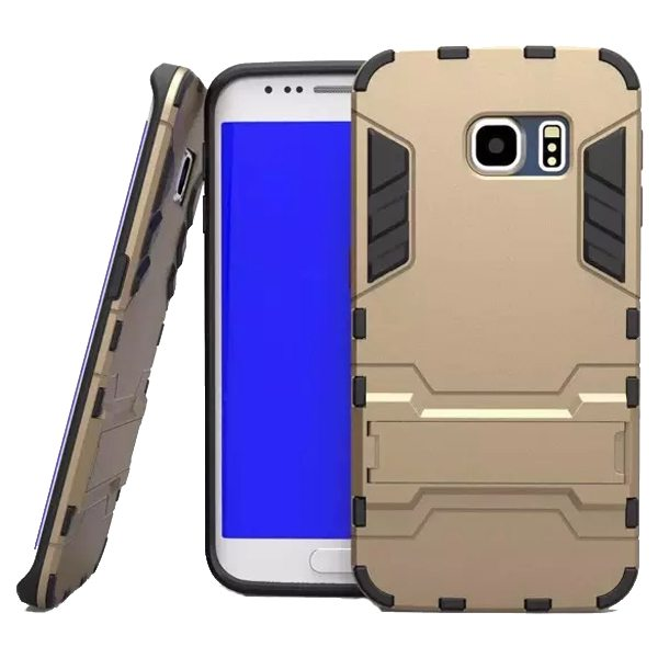 2 in 1 Soft TPU and Hard Shockproof Hybrid Case for Samsung Galaxy S6 with Holder(Golden)