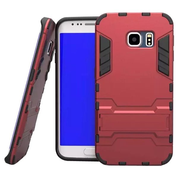 2 in 1 Soft TPU and Hard Shockproof Hybrid Case for Samsung Galaxy S6 with Holder(Red)