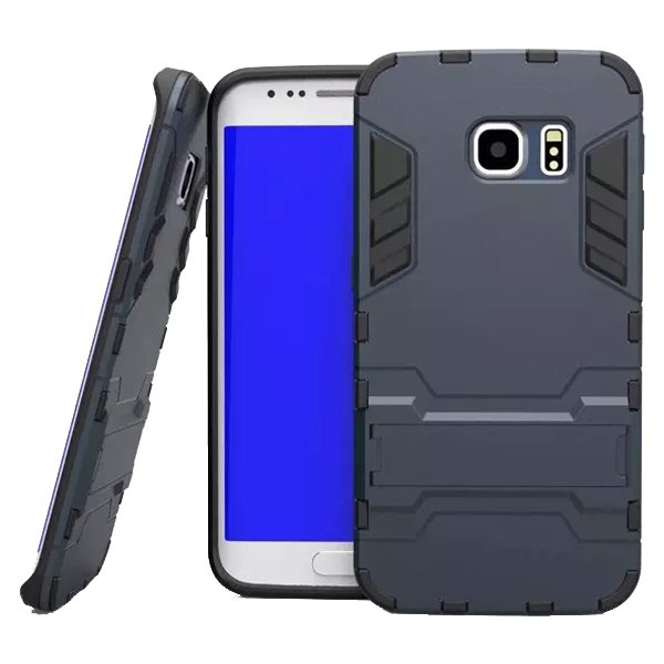 2 in 1 Soft TPU and Hard Shockproof Hybrid Case for Samsung Galaxy S6 with Holder(Black)