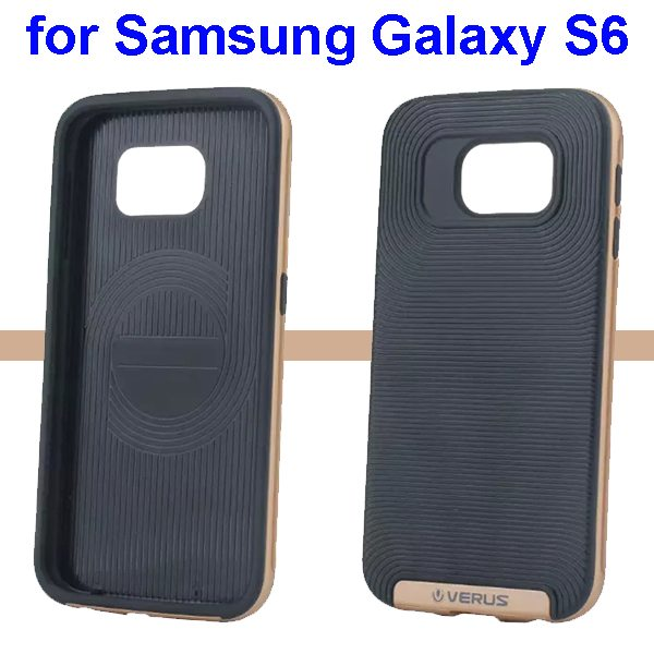 Verus Brand Soft TPU and Hard Protective Hybrid Case for Samsung Galaxy S6(Golden)