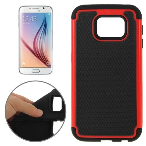 Football Texture PC + Silicone Contrast Color Combination Case for Samsung Galaxy S6 (Black + Red)