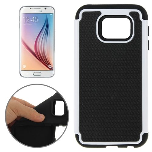 Football Texture PC + Silicone Contrast Color Combination Case for Samsung Galaxy S6 (Black + White)