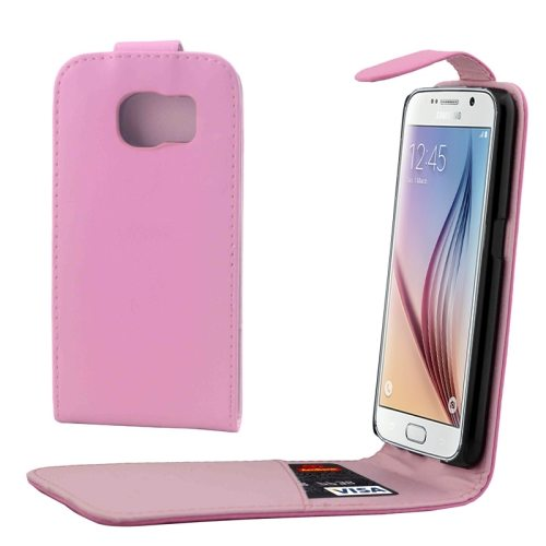 Factory Price Vertical Flip Magnetic Button Leather Case for Samsung Galaxy S6 with One Card Slot(Pink)