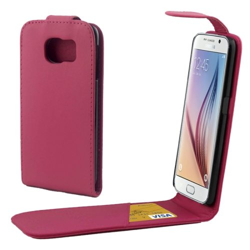 Factory Price Vertical Flip Magnetic Button Leather Case for Samsung Galaxy S6 with One Card Slot(Rose)