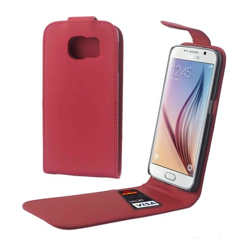 Factory Price Vertical Flip Magnetic Button Leather Case for Samsung Galaxy S6 with One Card Slot(Red)
