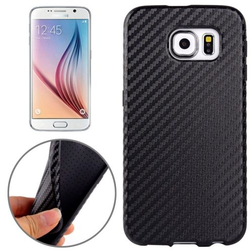 Carbon Fiber Texture PU Leather Protective Case for Samsung Galaxy S6 (Black)
