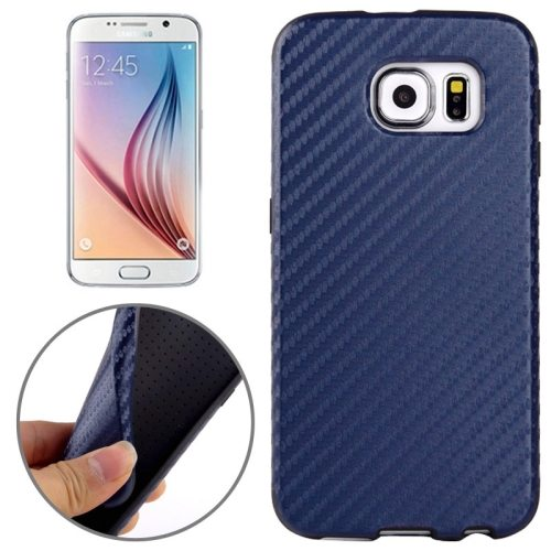 Carbon Fiber Texture PU Leather Protective Case for Samsung Galaxy S6 (Dark Blue)