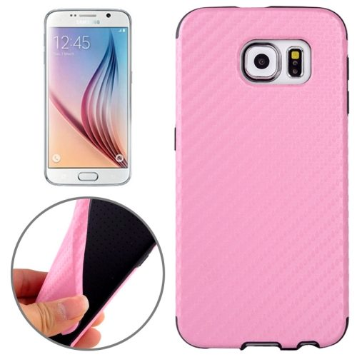 Carbon Fiber Texture PU Leather Protective Case for Samsung Galaxy S6 (Pink)