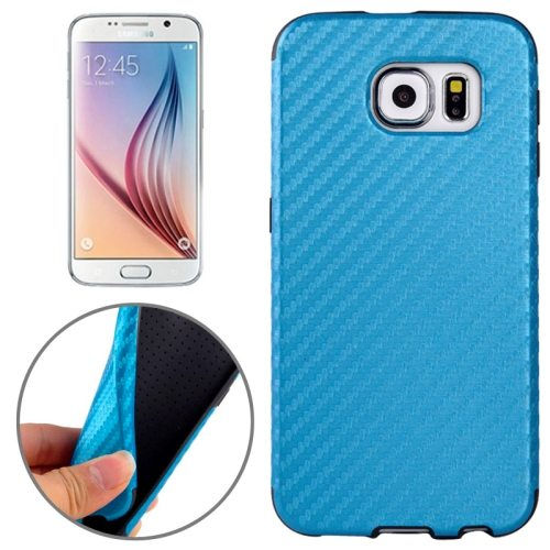 Carbon Fiber Texture PU Leather Protective Case for Samsung Galaxy S6 (Blue)