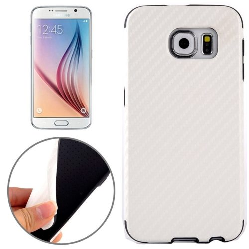 Carbon Fiber Texture PU Leather Protective Case for Samsung Galaxy S6 (White)